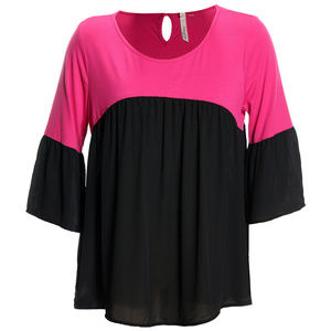1x Pink/Black Color Block 3/4 Bell Sleeve Top NEW